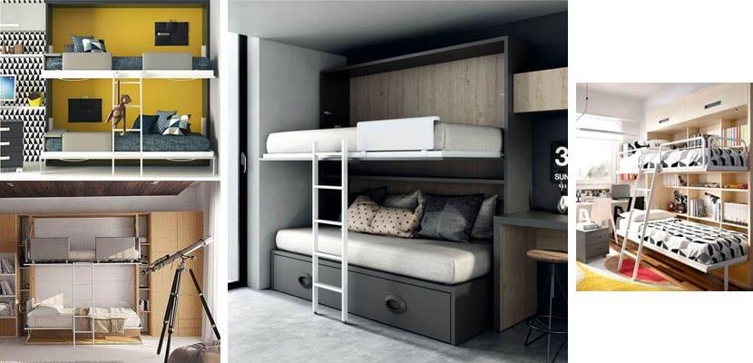 Folding bunk beds