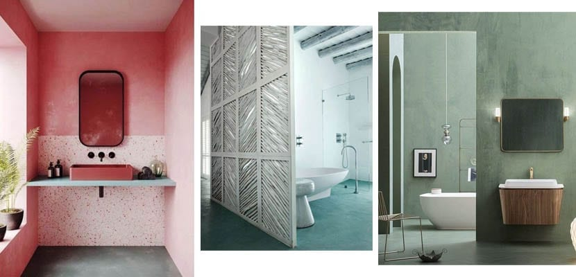 Baths in microcemento of daring colors