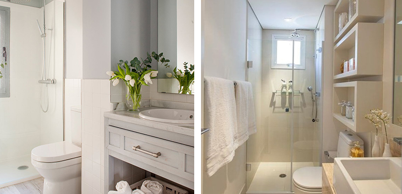 Bathrooms in white tones