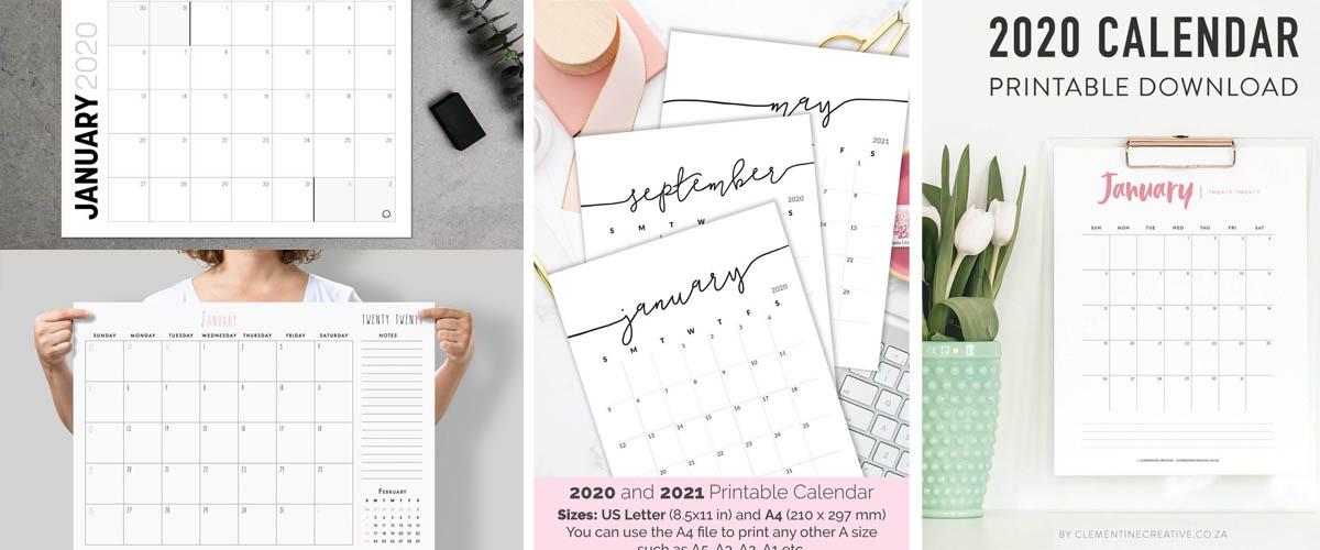 Minimalist printable calendars