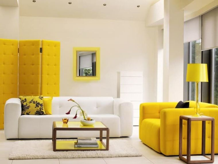 white yellow interior decoration