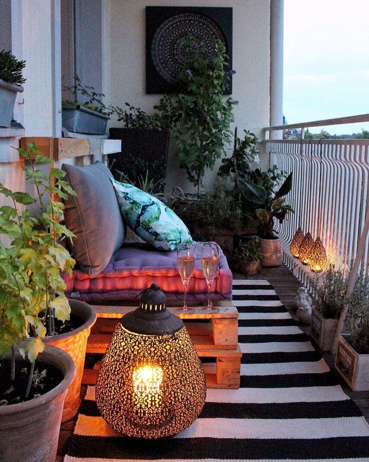 decorate balcony small carpet stripe