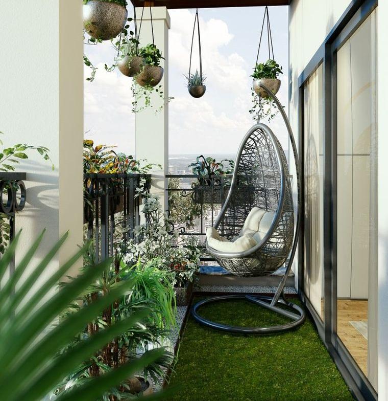 decorate balcony small grass stone
