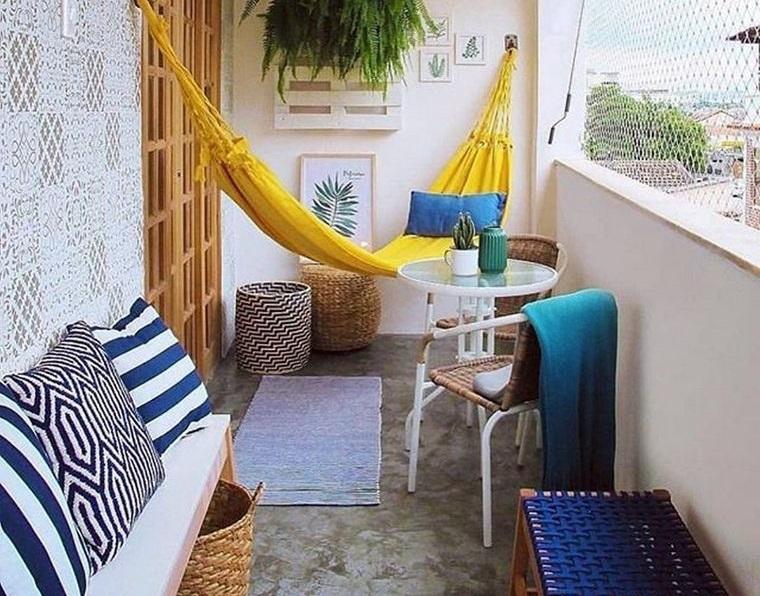 decorate balcony small hammocks