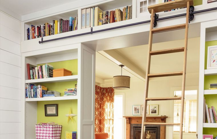 modern shelves stairs