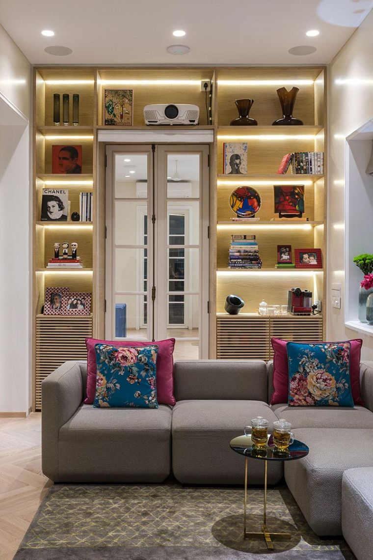 modern shelves lights