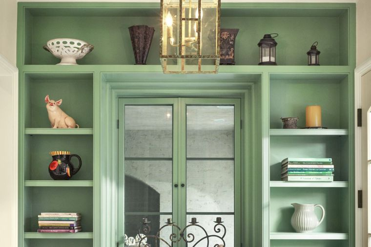green modern shelves