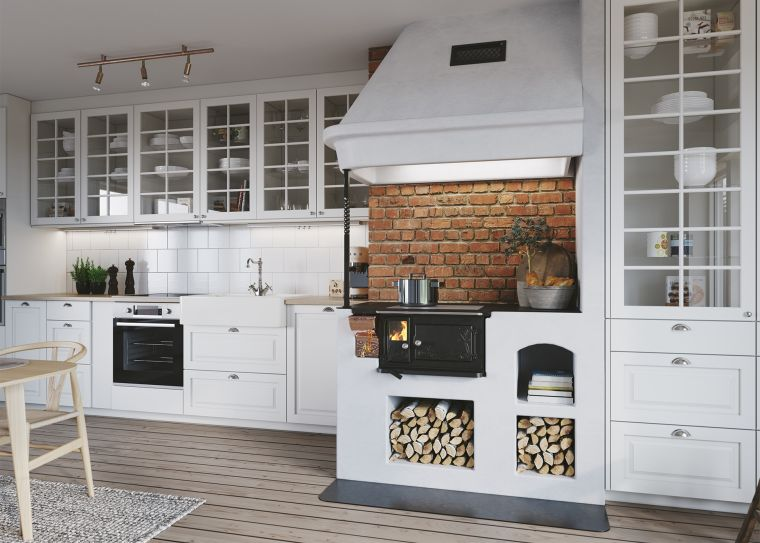 wood burning stoves in kitchen