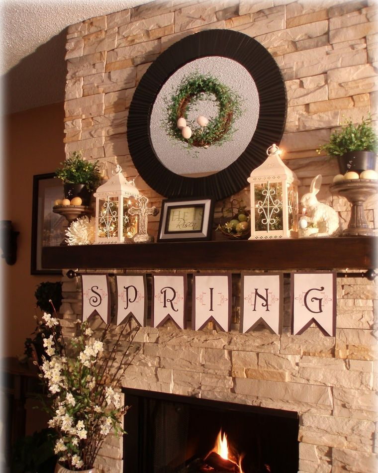 fireplace spring decoration