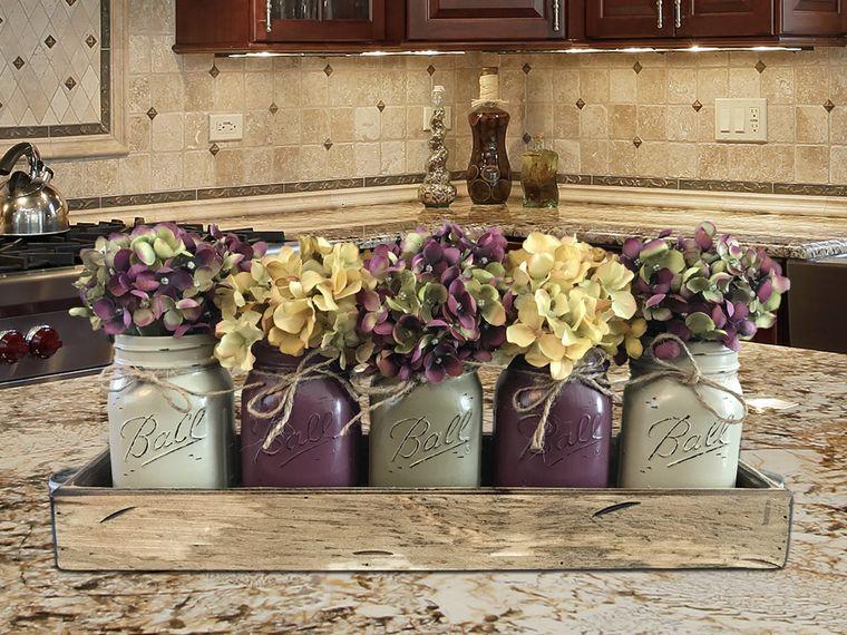spring decoration jars woods