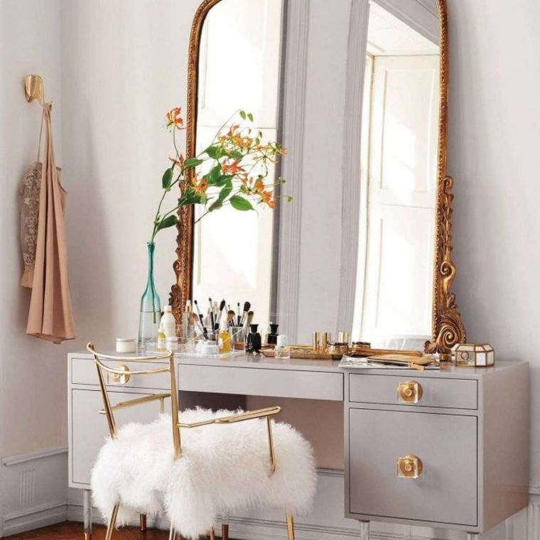 dressing table with golden drawers