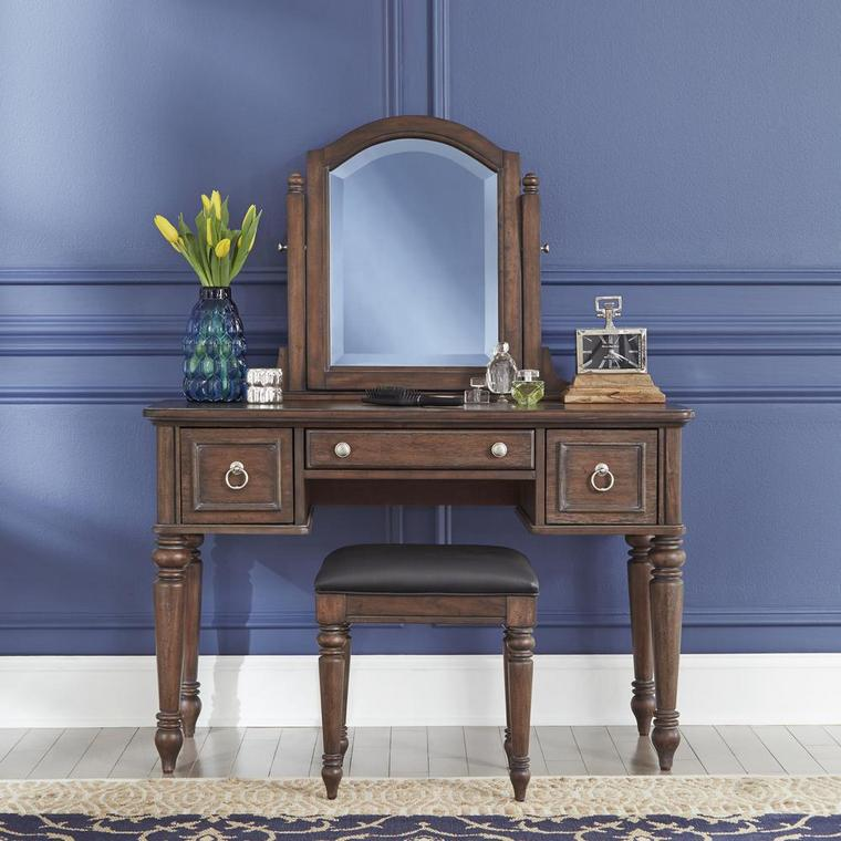 dressing table with wooden drawers