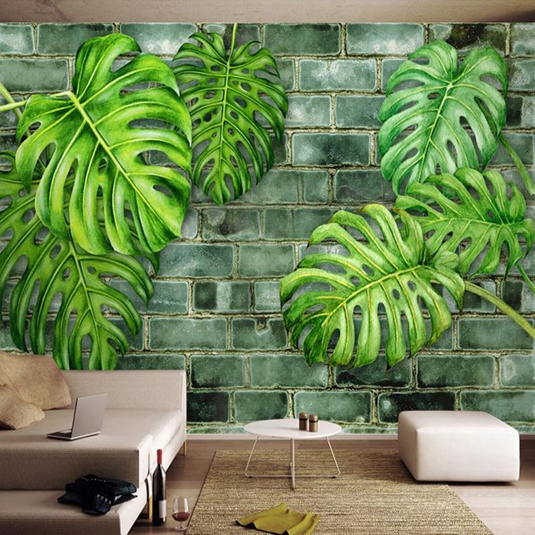 interior decoration with painted leaves