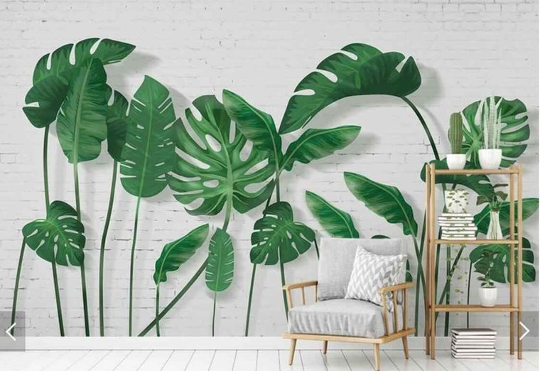 tropical green leaves interior decoration