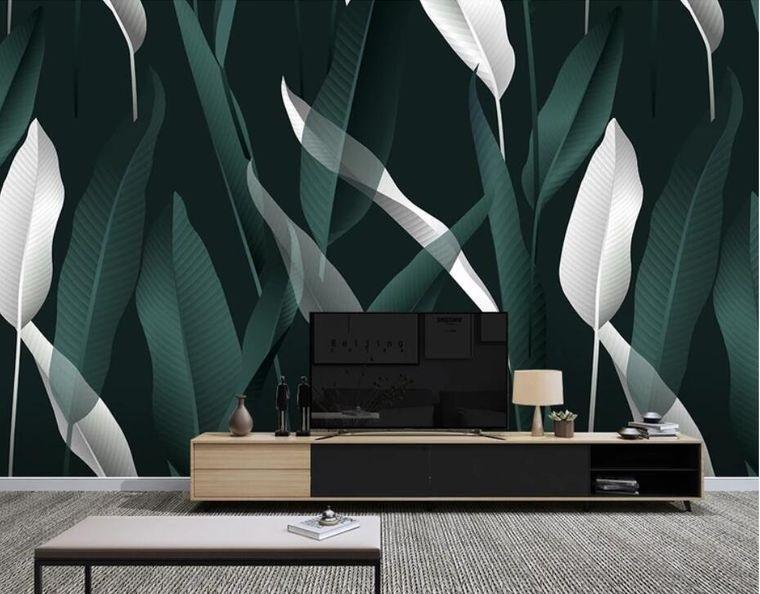 interior decoration wallpaper leaves