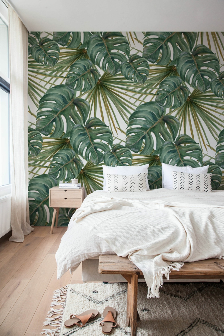 tropical-green-leaves-modern-bedroom