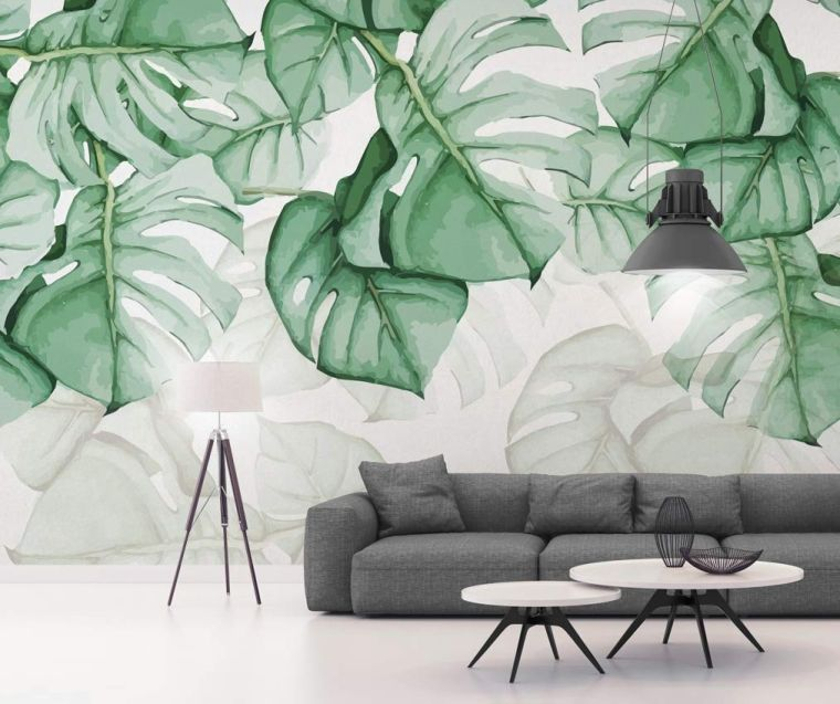 green-leaves-paper-wall-style