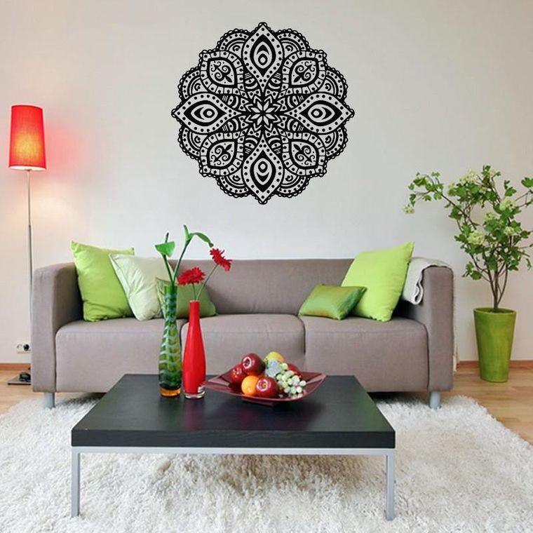 decoration with mandalas behind sofa
