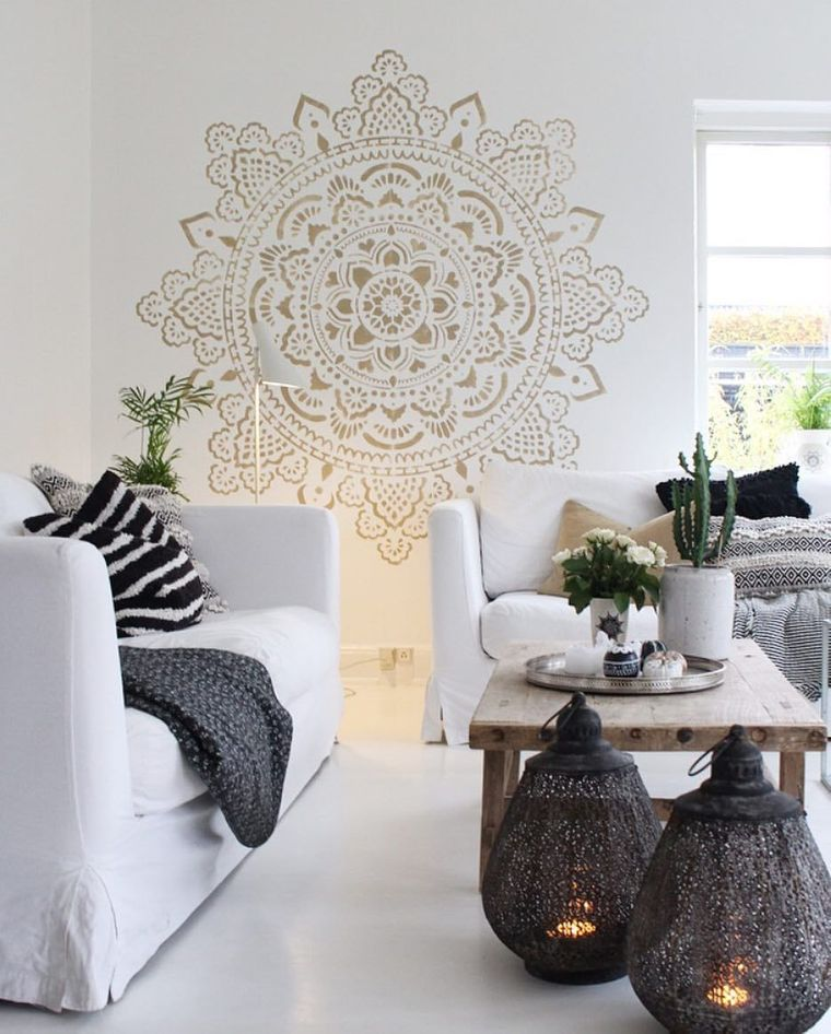 decoration with golden mandalas
