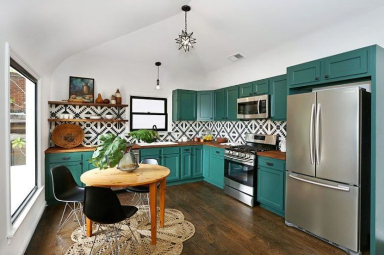 eclectic decor in kitchen