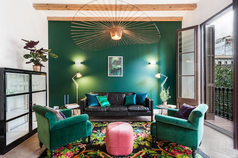 green eclectic decor