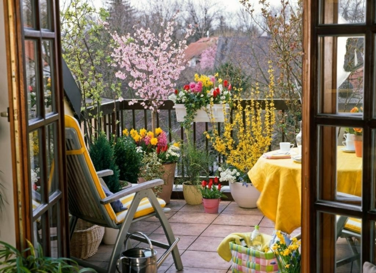 creative ideas balcony decoration yellow