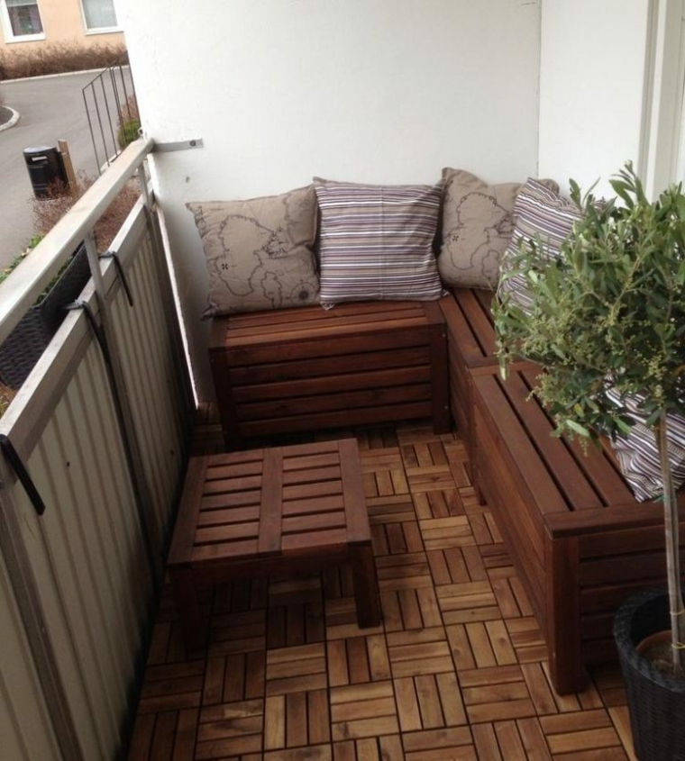 ideas-creative balcony furniture wood