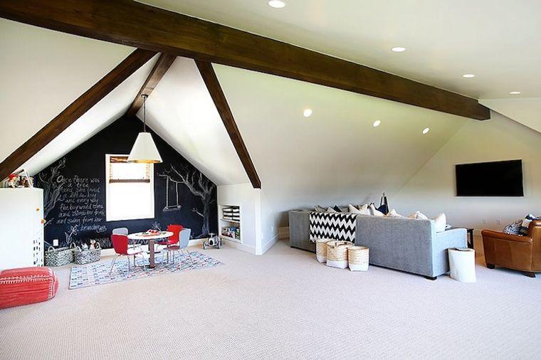 spacious attic game room