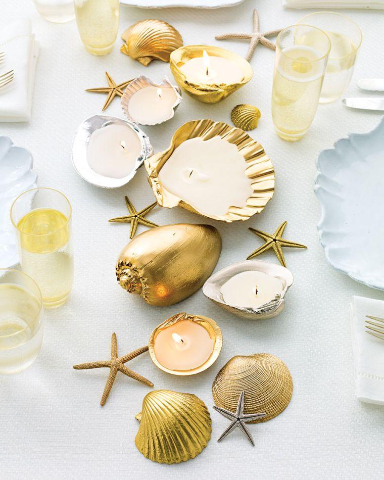 conchas marinas para adornar mesa