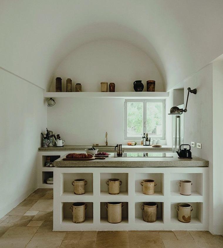 estilo mediterráneo pequeña cocina