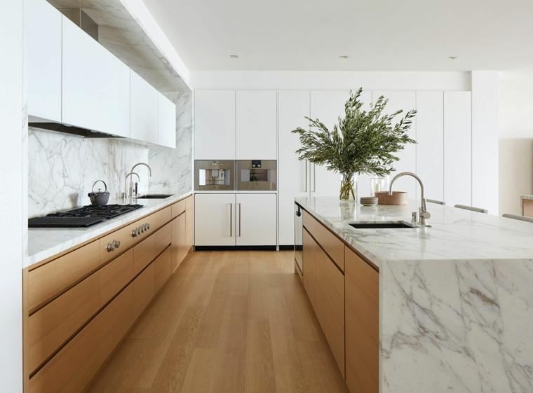 isla-cocina-madera-marmol-estilo