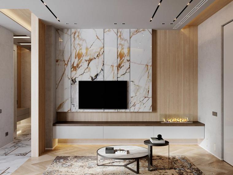 Mármol para interiores-combinar-madera