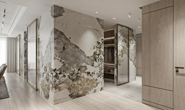 marmol-para interiores-paredes-pasillo-ideas