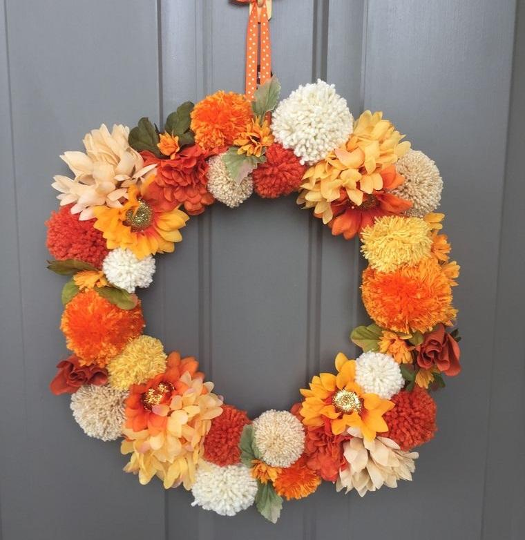 autumn crown pom poms