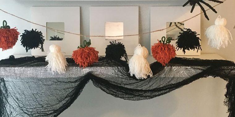 pom poms halloween decoration