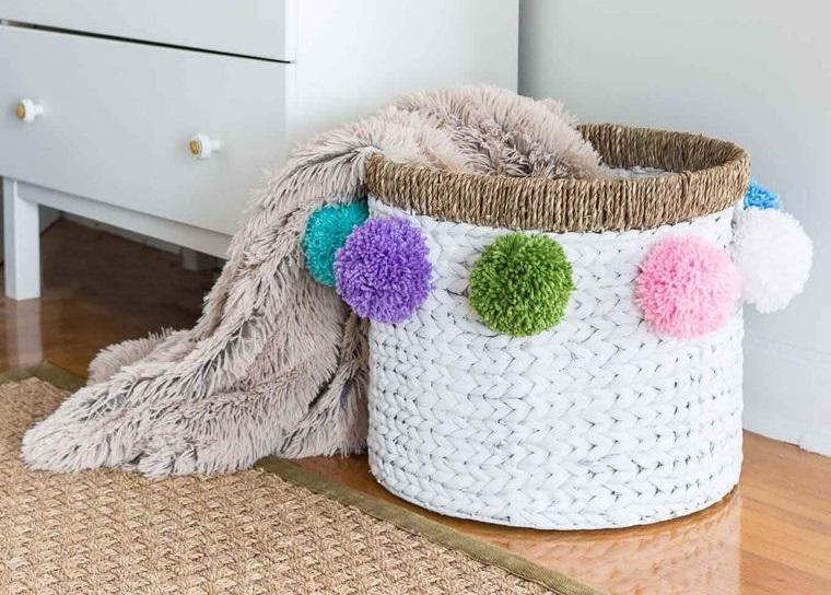 pompoms decorate basket