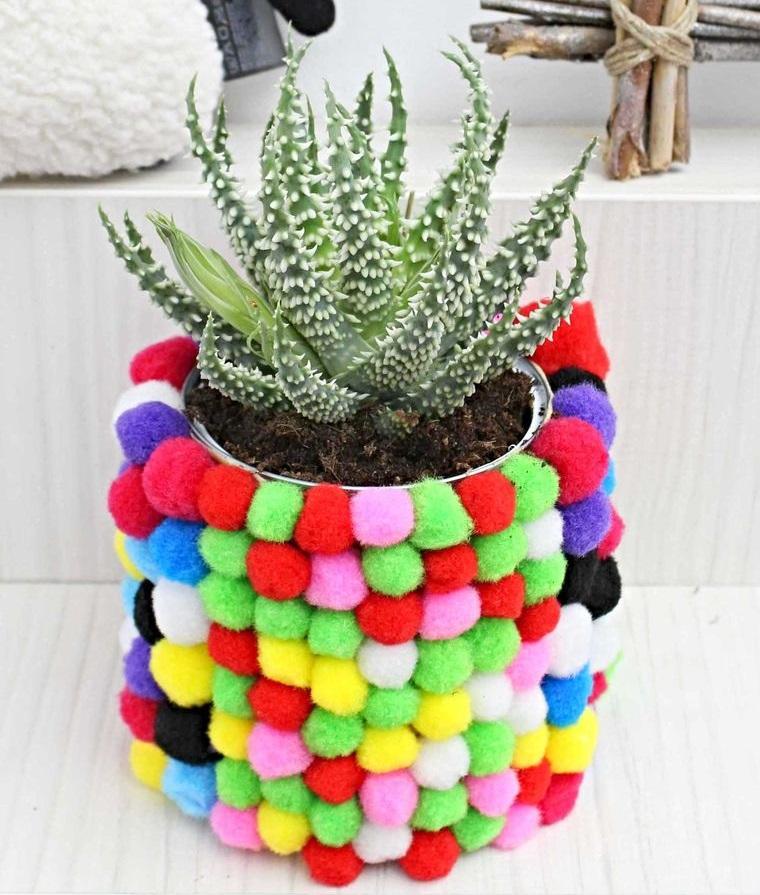 pompoms decorate flowerpot