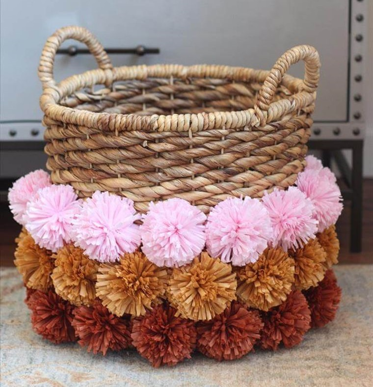 pompoms in woven basket