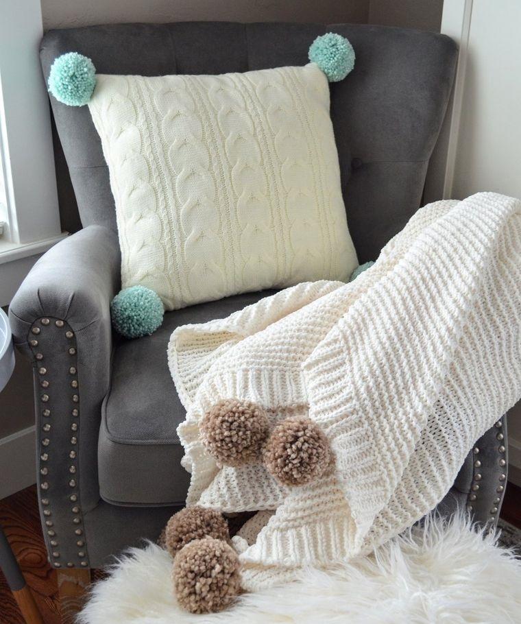 pompoms on blanket