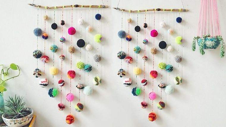 pompoms on wall