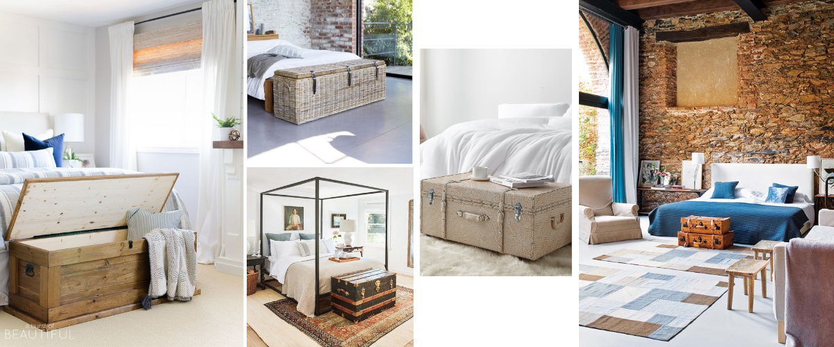 Trunks and suitcases at the bedside