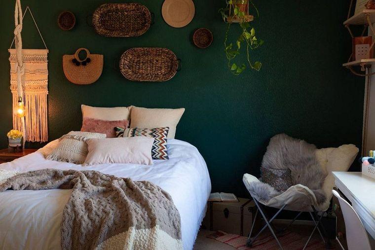 decoración boho dormitorio pared aceento