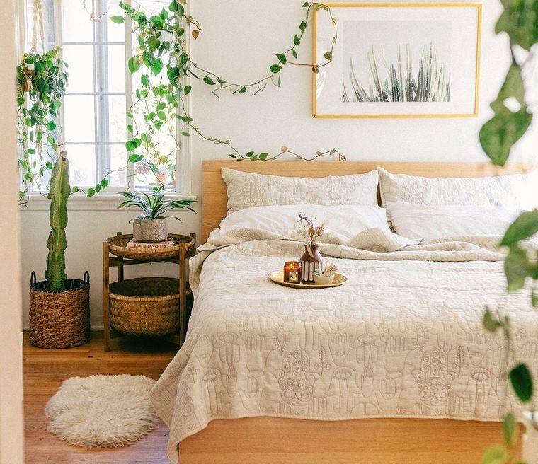 decoración boho dormitorio plantas