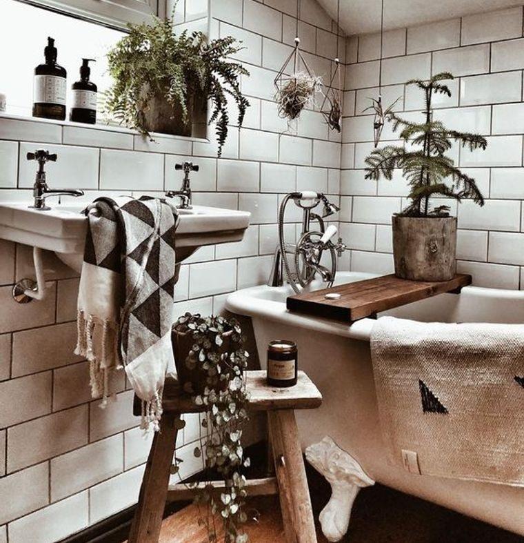 decoración boho para baños