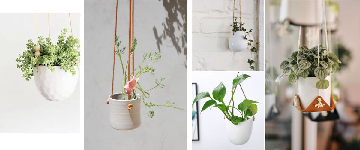 White pots with wood or leather elements