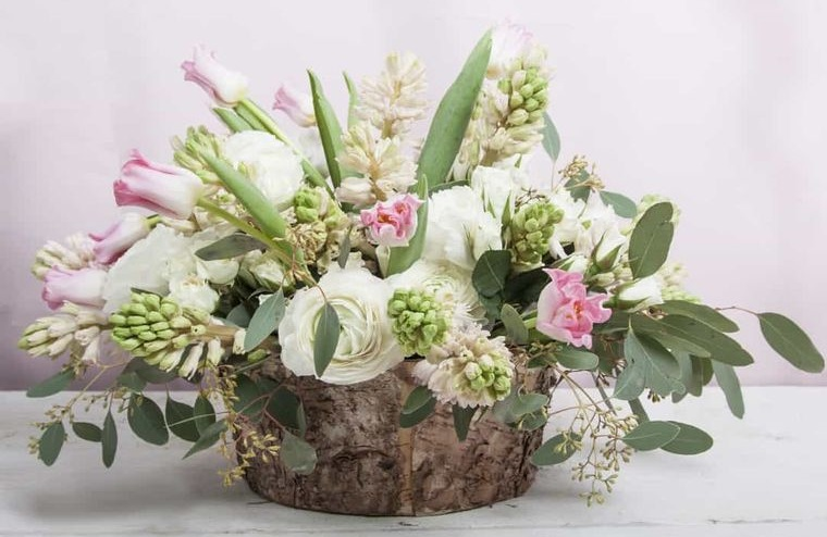 hyacinth flowers rustic centerpiece
