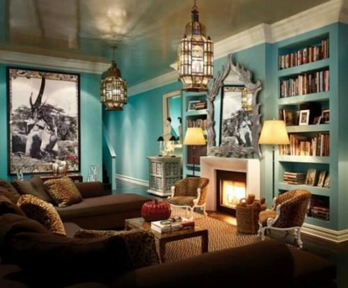 turquoise living room design