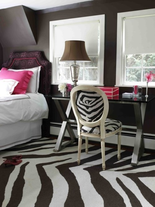 female zebra bedroom