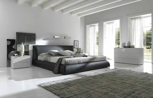gray and white couple bedroom