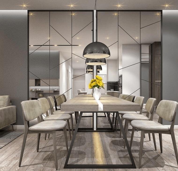 mirrored dining room decor